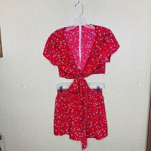 Shein Red floral 2pc wrap top dress shorts elastic